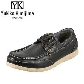 ユキコキミジマオム Yukiko Kimijima カジュアルシューズ YK242 メンズ靴 靴 シューズ 3E相当 デッキシューズ風 軽量 幅広 ローカット 紳士靴 アメカジ おしゃれ ブラック SP