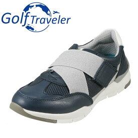 ゴルフトラベラー Golf Traveler スニーカー GFL4422 レディース靴 靴 シューズ 2E相当 ローカットスニーカー 本革 軽量 紐なし 履きやすい 歩きやすい クッション性 小さいサイズ対応 22.5cm 大きいサイズ対応 25.0cm ネイビー SP