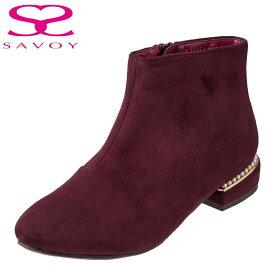 サボイ SAVOY ブーツ SA94143 レディース靴 靴 シューズ E相当 ショートブーツ ローヒール 撥水加工 はっ水 歩きやすい 履きやすい シンプル 大きいサイズ対応 24.5cm ワイン×スエード SP