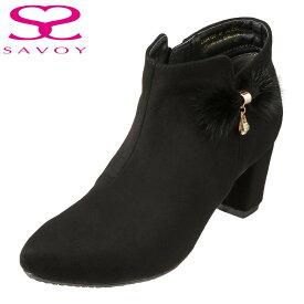 サボイ SAVOY ブーツ SA94130 レディース靴 靴 シューズ E相当 ショートブーツ ブーティ はっ水加工 ヒール ミンクファー飾り スエード調 チャーム 大きいサイズ対応 24.5cm 25.0cm 25.5cm ブラックスエード SP