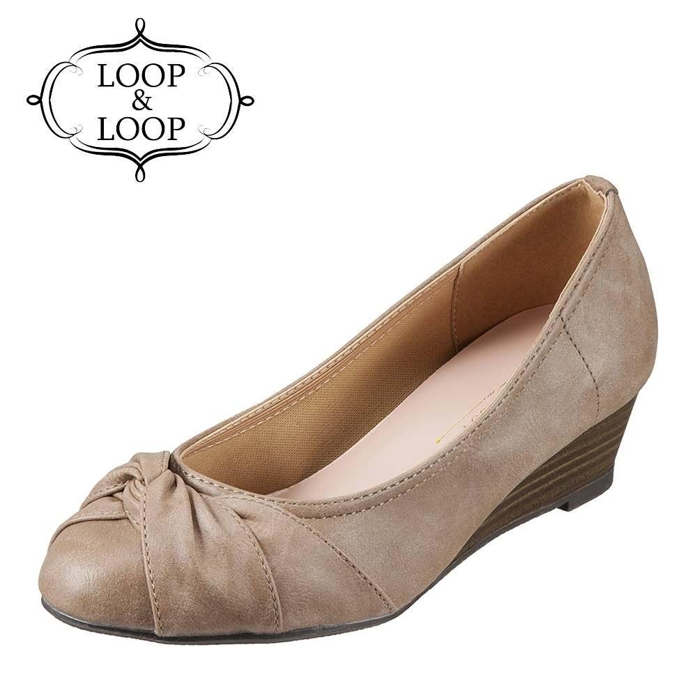 ループアンドループ LOOP&LOOP パンプス 75893 レディース靴 靴 シューズ 2E相当 ウェッジソールパンプス ラウンドトゥ ターバン 通勤 仕事 オフィカジ 低反発インソール 歩きやすい 大きいサイズ対応 24.5cm オーク×PU SP