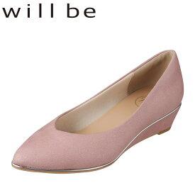 ウィルビー WILL BE パンプス WB5500 レディース靴 靴 シューズ 2E相当 ポインテッドトゥパンプス ローヒール Vカット アーモンドトゥ ウェッジヒール 歩きやすい メタルピース 華やか おしゃれ ピンク SP