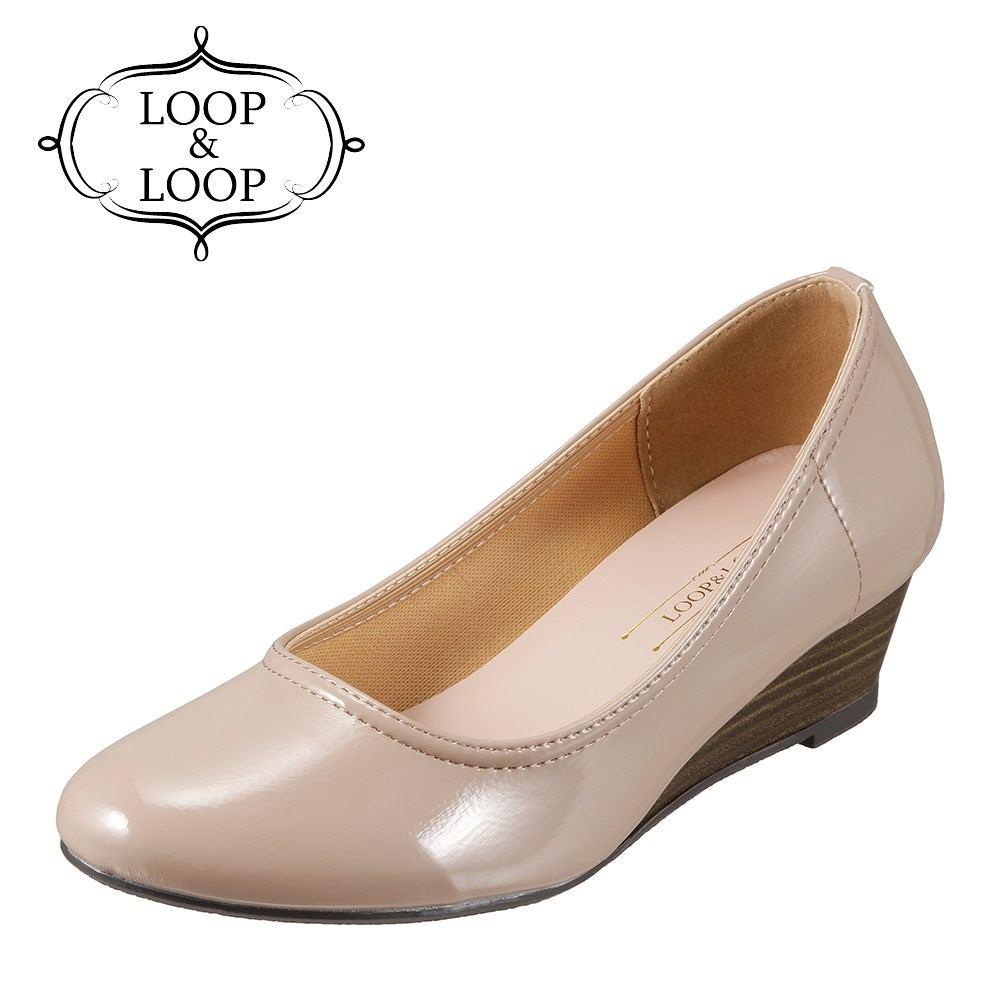 ループアンドループ LOOP&LOOP パンプス 75894 レディース靴 靴 シューズ 2E相当 ウェッジソールパンプス ラウンドトゥ エナメルパンプス 通勤 仕事 オフィカジ 低反発インソール 歩きやすい 大きいサイズ対応 24.5cm ライトオーク×エナメル SP
