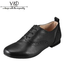 ブイ・アンド・ディー V&D VD223 レディース靴 3E相当 レースアップシューズ 本革 レザー サイドゴア ゴム ブラック SP