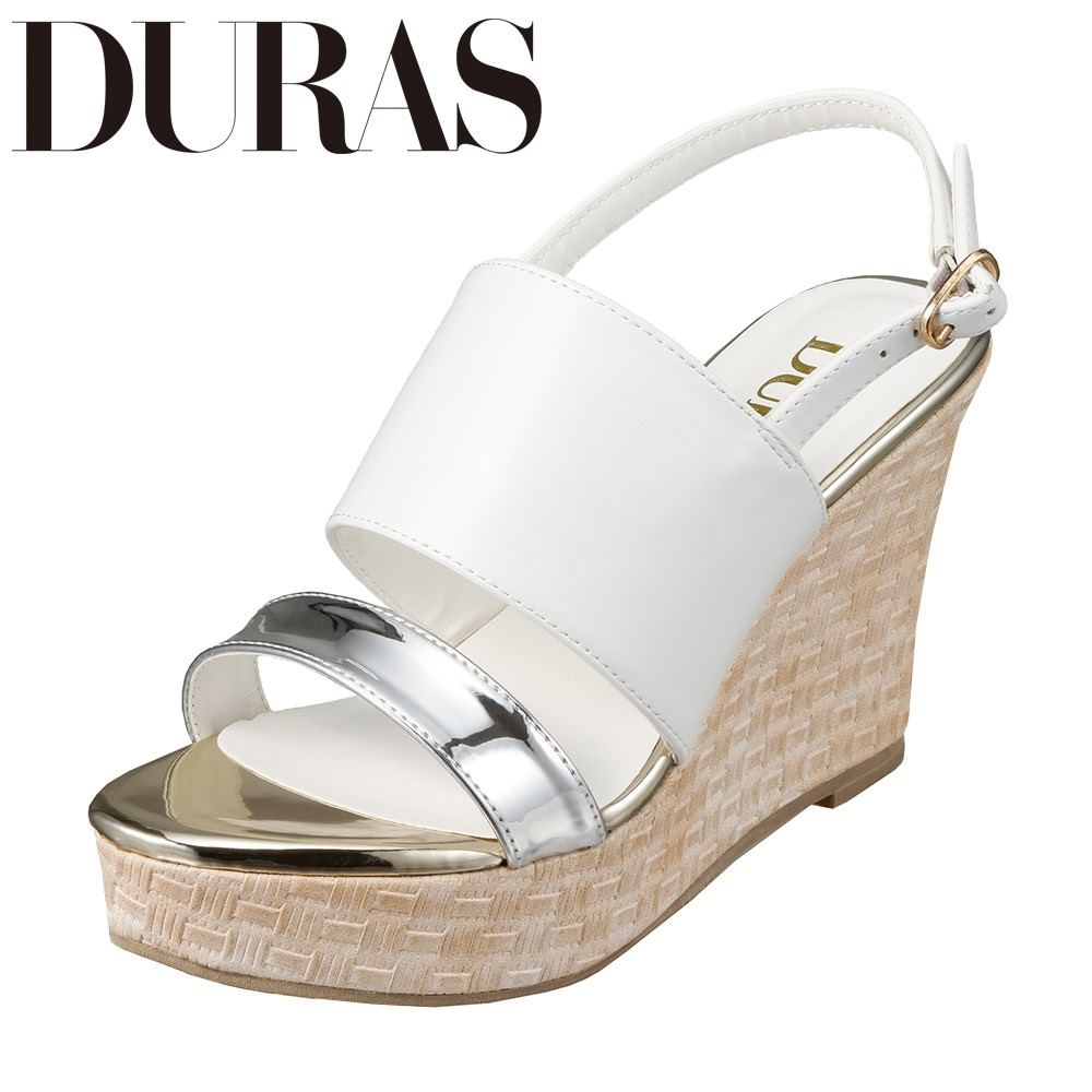 デュラス DURAS DR9760 レディース靴 2E相当 コンビネーション サンダル ウェッジソール バックストラップ 小さいサイズ対応 大きいサイズ対応 ホワイト SP