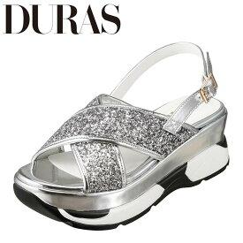 デュラス DURAS DR9810 レディース靴 2E相当 サンダル スニーカー底 スニーカーソール スポーツサンダル 個性的デザイン シルバー SP