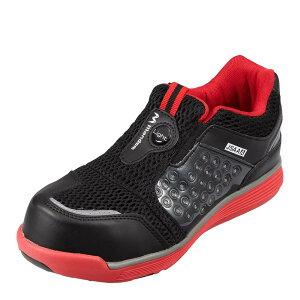マンダム MANDOM 767 レディース靴 靴 シューズ 4E相当 セーフティーシューズ 安全靴 幅広 4E 樹脂先芯入り 通気性 蒸れにくい レッド×ブラック SP
