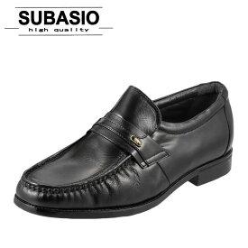 [スバシオ] SUBASIO 4670 メンズ | ビジネスシューズ | モカシン スリッポン | 幅広 やわらか | シンプル 定番 | ブラック SP