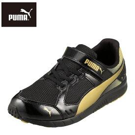プーマ PUMA スニーカー 190266 03 キッズ 靴 シューズ 2E相当 キッズスニーカー ジュニアスニーカー 子供 男の子 通気性 スポーツ 運動 かっこいい ブラック×ゴールド TSRC