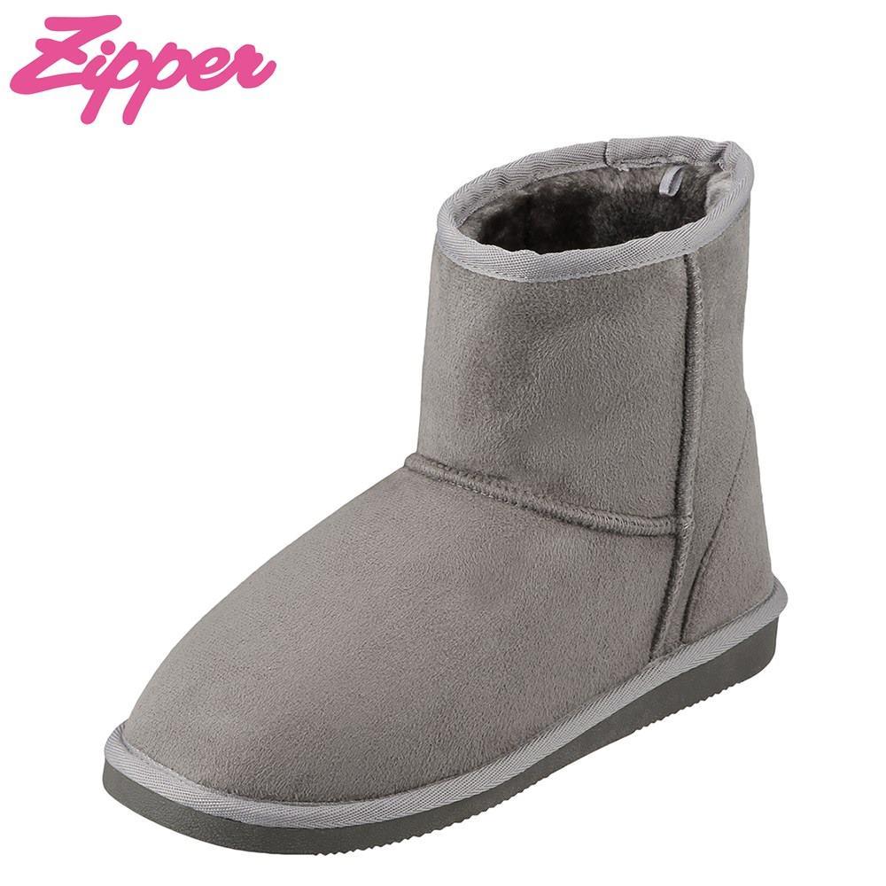 ジッパー Zipper ブーツ ZP-571 レディース靴 靴 シューズ 2E相当 ムートン 風 ブーツ ショートブーツ 幅広 カジュアル フラット 大きいサイズ対応 25.0cm 25.5cm ライトグレー TSRC
