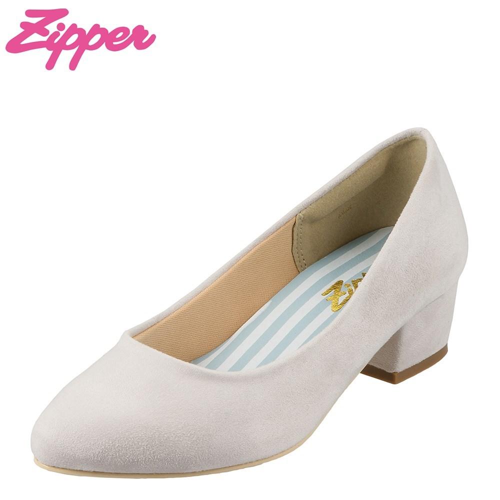 ジッパー Zipper パンプス ZP-3202 レディース靴 靴 シューズ 2E相当 アーモンドトゥ パンプス 太ヒール ローヒール シンプル 低反発 大きいサイズ対応 25.0cm 25.5cm ライトグレー×スエード TSRC