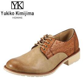 ユキコキミジマオム Yukiko Kimijima スリッポン YK240 メンズ 靴 シューズ 3E相当 レースアップシューズ カジュアル 幅広 ストリート おしゃれ 大きいサイズ対応 28.0cm ベージュ TSRC