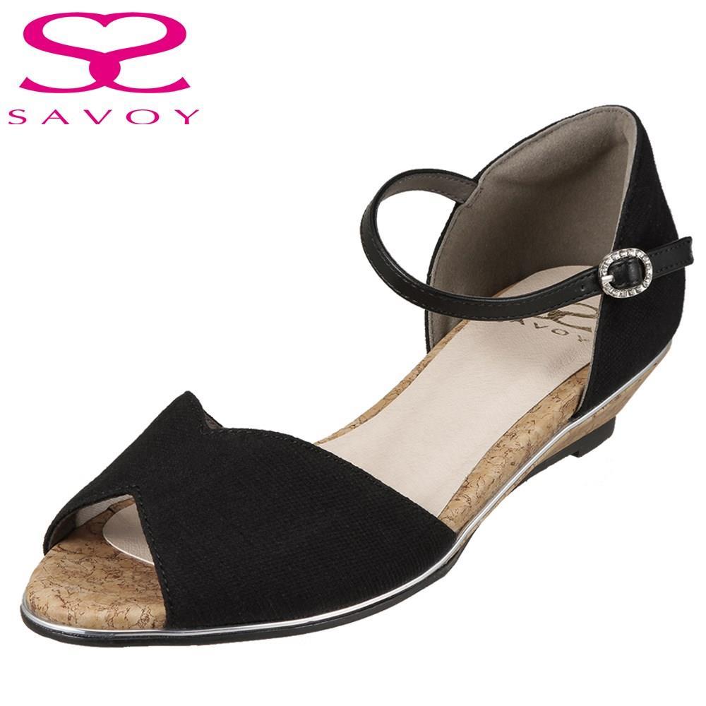 サボイ SAVOY サンダル SA94096 レディース靴 靴 シューズ E相当 アンクルストラップサンダル ウェッジソール ローヒール シンプル 歩きやすい 大きいサイズ対応 25.0cm 25.5cm ブラック TSRC