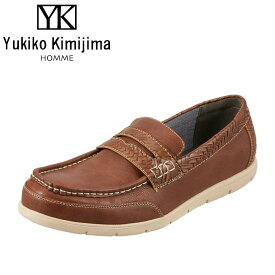 ユキコキミジマオム Yukiko Kimijima カジュアルシューズ YK243 メンズ靴 靴 シューズ 3E相当 スリッポン ローファー 軽量 幅広 ローカット 紳士靴 アメカジ おしゃれ ダークブラウン TSRC