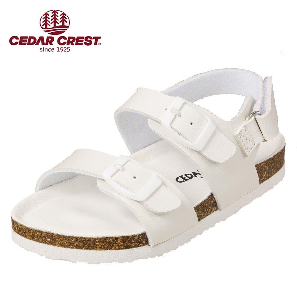 セダークレスト CEDAR CREST サンダル CC-3066 キッズ靴 靴 シューズ 2E相当 コンフォートサンダル 子供 男の子 女の子 フラット アンクルストラップ 面ファスナー 着脱テープ ホワイト TSRC