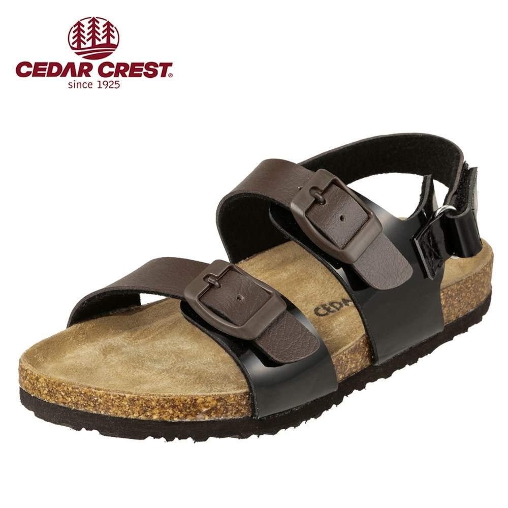 セダークレスト CEDAR CREST サンダル CC-3066 キッズ靴 靴 シューズ 2E相当 コンフォートサンダル 子供 男の子 女の子 フラット アンクルストラップ 面ファスナー 着脱テープ ダークブラウン×ブラック TSRC