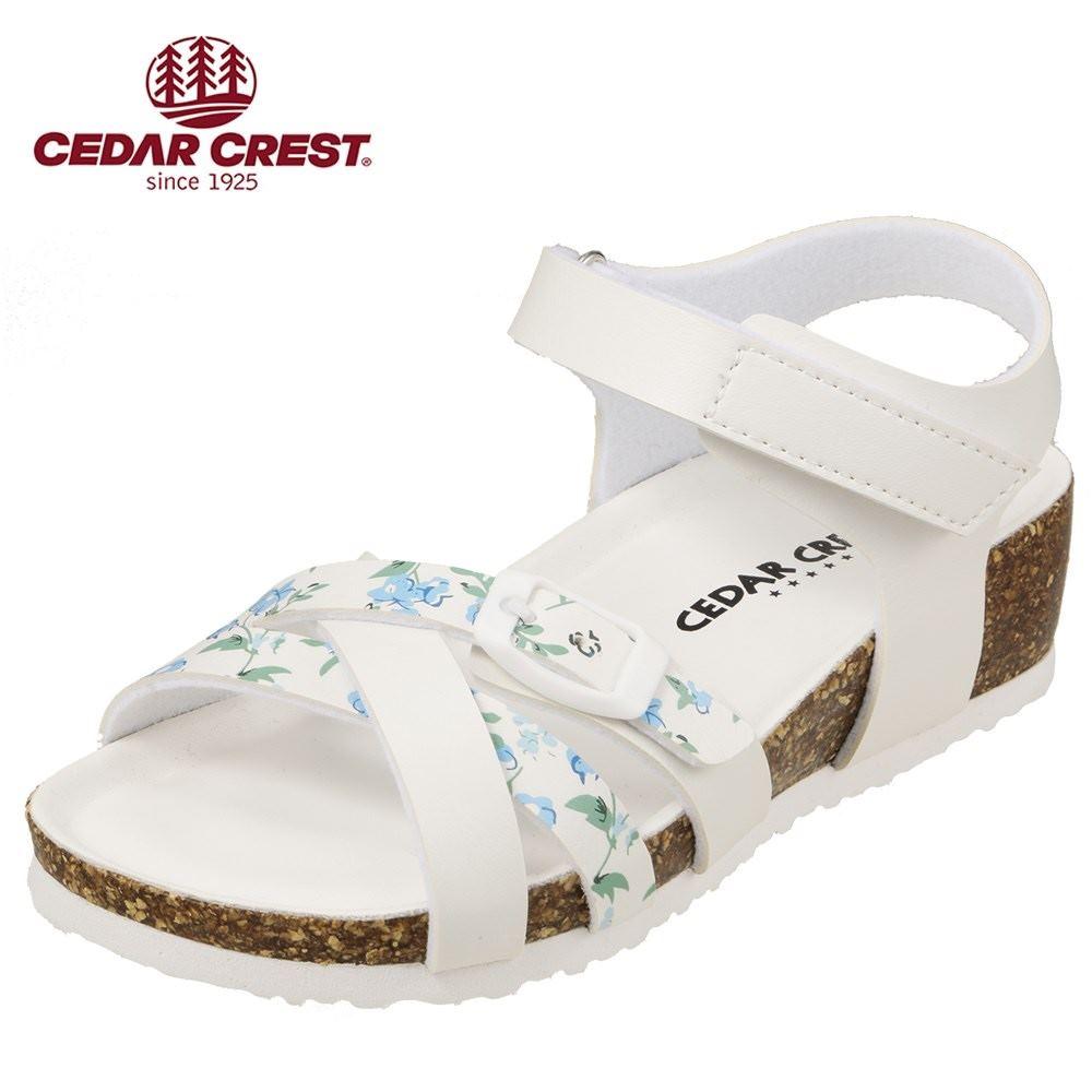セダークレスト CEDAR CREST サンダル CC-3067 キッズ靴 靴 シューズ 2E相当 ウェッジソールサンダル 子供 女の子 コンフォートサンダル かわいい おしゃれ ホワイト TSRC