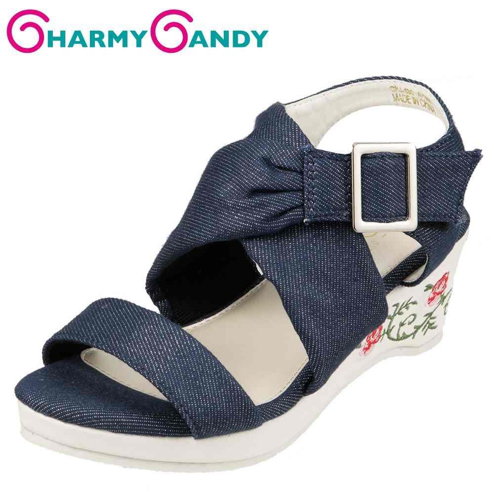 チャーミーキャンディ CHARMY CANDY サンダル CHJ-130 キッズ靴 靴 シューズ 2E相当 ウェッジソールサンダル 厚底 子供 女の子 アンクルストラップ デニム風 かわいい おしゃれ ネイビー×シルバー TSRC