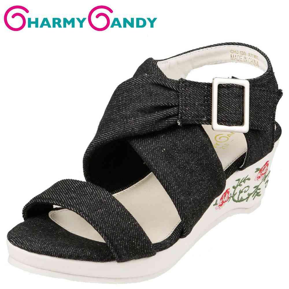 チャーミーキャンディ CHARMY CANDY サンダル CHJ-130 キッズ靴 靴 シューズ 2E相当 ウェッジソールサンダル 厚底 子供 女の子 アンクルストラップ デニム風 かわいい おしゃれ ブラック TSRC