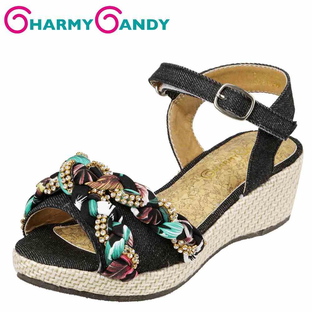 チャーミーキャンディ CHARMY CANDY サンダル CHJ-132 キッズ靴 靴 シューズ 2E相当 ウェッジソールサンダル 厚底 子供 女の子 アンクルストラップ ビジュー ボタニカル かわいい おしゃれ ブラック TSRC