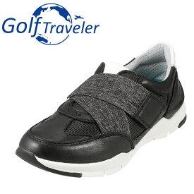 ゴルフトラベラー Golf Traveler スニーカー GFL4422 レディース靴 靴 シューズ 2E相当 ローカットスニーカー 本革 軽量 紐なし 履きやすい 歩きやすい クッション性 小さいサイズ対応 22.5cm ブラック TSRC