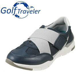 ゴルフトラベラー Golf Traveler スニーカー GFL4422 レディース靴 靴 シューズ 2E相当 ローカットスニーカー 本革 軽量 紐なし 履きやすい 歩きやすい クッション性 小さいサイズ対応 22.5cm 大きいサイズ対応 25.0cm ネイビー TSRC