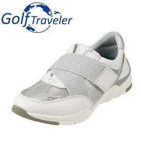 ゴルフトラベラー Golf Traveler スニーカー GFL4422 レディース靴 靴 シューズ 2E相当 ローカットスニーカー 本革 軽量 紐なし 履きやすい 歩きやすい クッション性 小さいサイズ対応 22.5cm ホワイト×コンビ TSRC