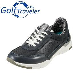 ゴルフトラベラー Golf Traveler スニーカー GFL4423 レディース靴 靴 シューズ 2E相当 ローカットスニーカー 本革 軽量 レースアップ 歩きやすい クッション性 カジュアル ネイビー TSRC