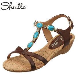 シュッテ Shutte サンダル ST-318 レディース靴 靴 シューズ 2E相当 ウェッジソールサンダル アンクルベルト エスニック アジアン カジュアル おしゃれ 大きいサイズ対応 25.0cm 25.5cm ダークブラウン TSRC