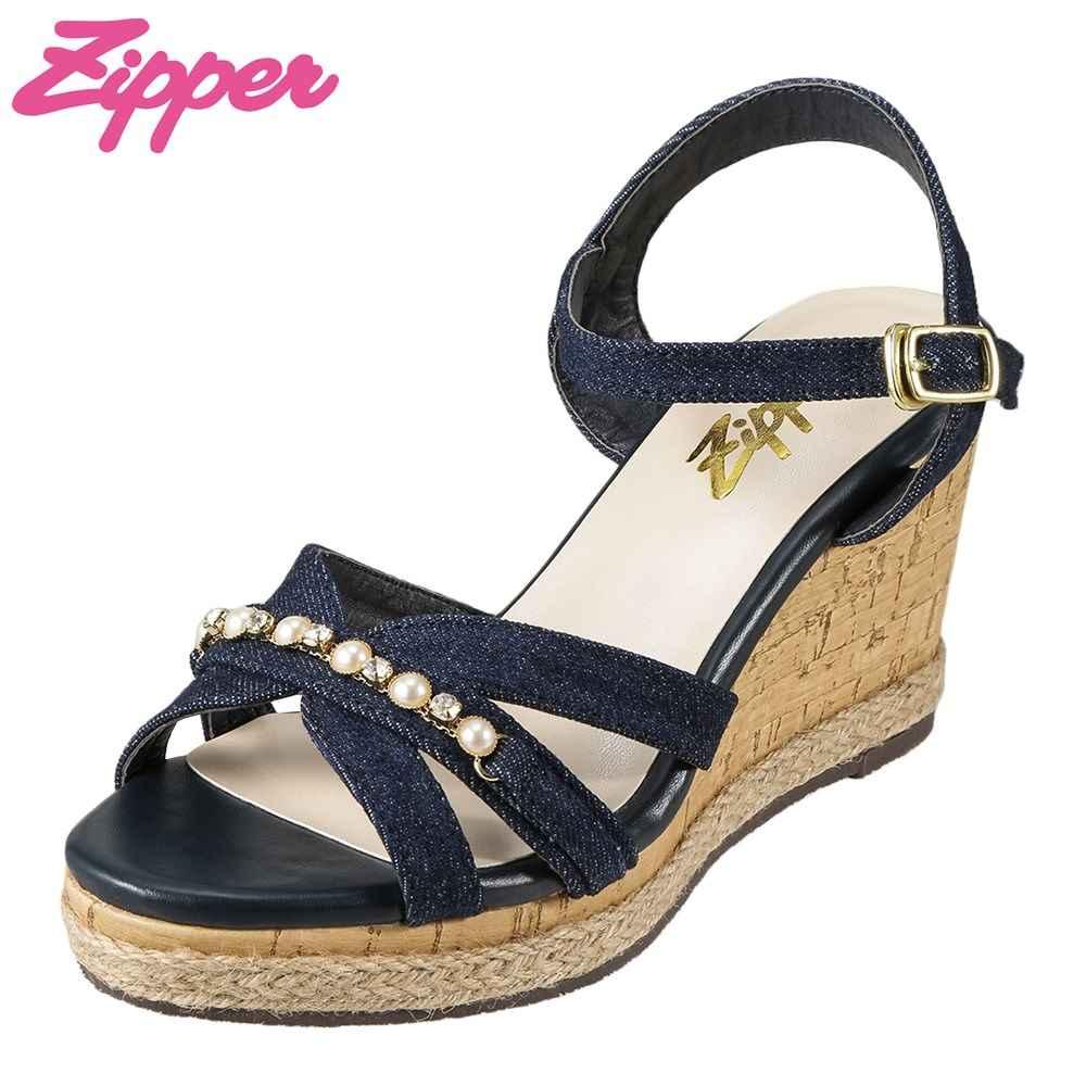 ジッパー Zipper サンダル ZP-3204 レディース靴 靴 シューズ 2E相当 ウェッジソールサンダル アンクルストラップ ビジュー コルク調 おしゃれ 大きいサイズ対応 25.0cm 25.5cm ネイビー TSRC