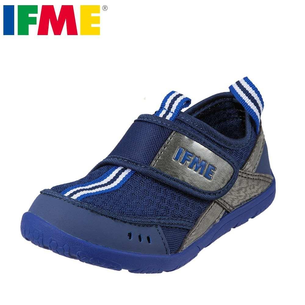 イフミー IFME スニーカー 30-8018 キッズ靴 靴 シューズ 3E相当 スニーカー 子供 男の子 幅広 ゆったり 履きやすい 速乾 ネイビー TSRC