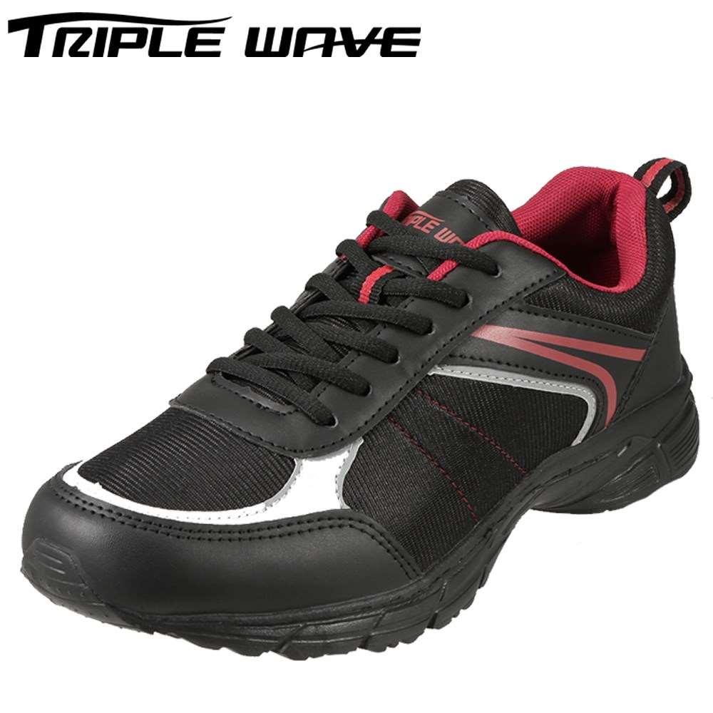 トリプルウェーブ TRIPLE WAVE スニーカー TW2303 メンズ靴 靴 シューズ 3E ローカットスニーカー 軽量 幅広 レースアップ ウォーキング ジョギング スポーツ 大きいサイズ対応 28.0cm ブラック TSRC
