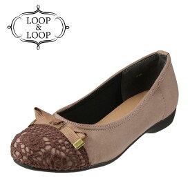 ループアンドループ LOOP&LOOP バレエシューズ LP-1125 レディース靴 靴 シューズ 2E相当 ラウンドトゥパンプス リボン ローヒール 歩きやすい バレエシューズ かわいい 大きいサイズ対応 24.5cm 25.0cm 25.5cm オーク×スエード TSRC