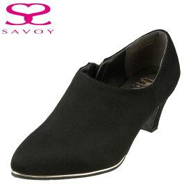 サボイ SAVOY ブーティ SA94109 レディース靴 靴 シューズ E相当 ブーティ ヒール ショートブーツ ポインテッドトゥ ハイヒール 美脚 大きいサイズ対応 24.5cm 25.0cm 25.5cm ブラック×スエード TSRC
