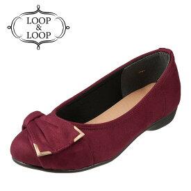 ループアンドループ LOOP&LOOP パンプス LP-1124 レディース靴 靴 シューズ 2E相当 バレエシューズ ぺたんこ ラウンドトゥパンプス バックル リボンモチーフ 大きいサイズ対応 24.5cm 25.0cm 25.5cm ワイン×スエード TSRC