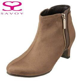 サボイ SAVOY ブーツ SA94129 レディース靴 靴 シューズ E相当 ショートブーツ ヒール はっ水加工 サイドジップ シンプル エレガント スエード調 カジュアル オークスエード TSRC