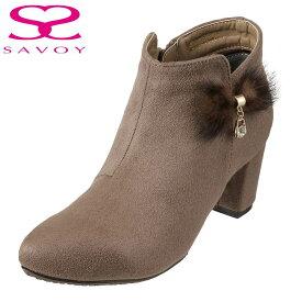 サボイ SAVOY ブーツ SA94130 レディース靴 靴 シューズ E相当 ショートブーツ ブーティ はっ水加工 ヒール ミンクファー飾り スエード調 チャーム 大きいサイズ対応 24.5cm 25.0cm 25.5cm オークスエード TSRC