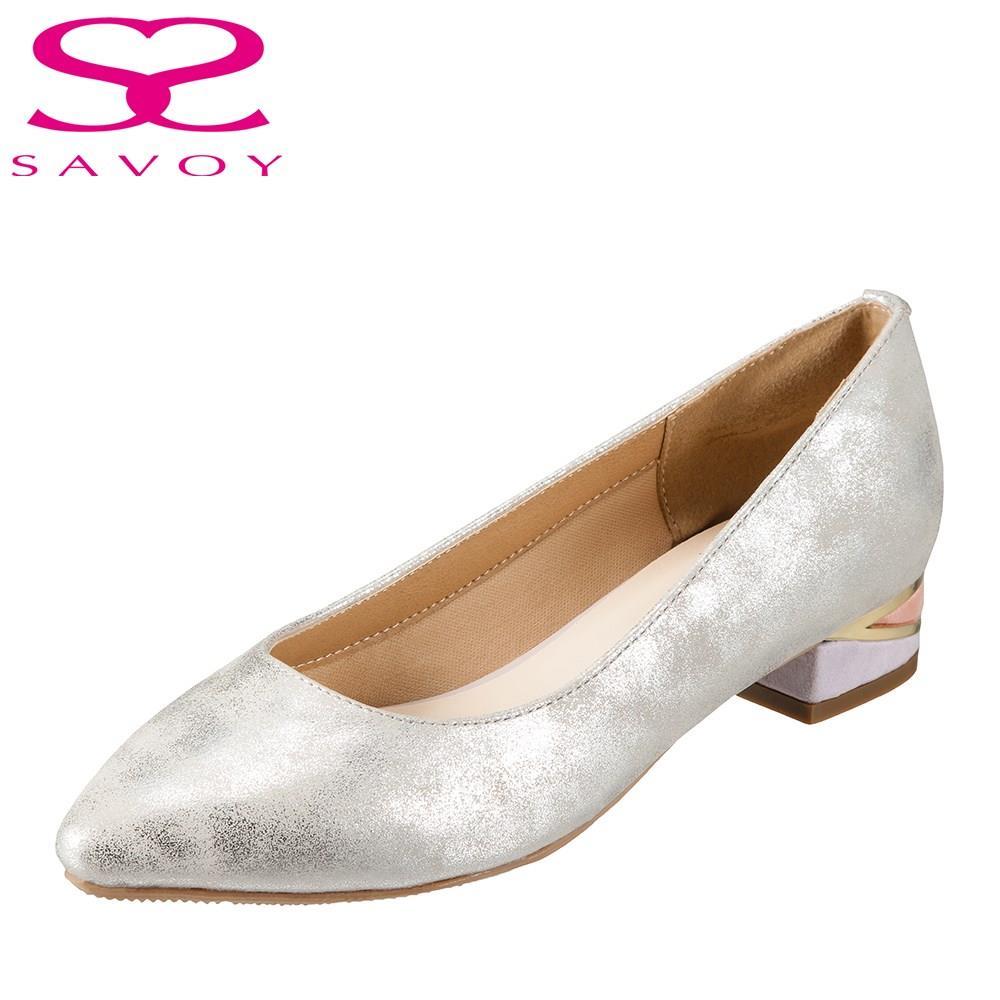 サボイ SAVOY パンプス SA94149 レディース靴 靴 シューズ E相当 アーモンドトゥパンプス ローヒール 歩きやすい チャンキーヒール 太めヒール キラキラ おしゃれ 大きいサイズ対応 24.5cm シルバー TSRC