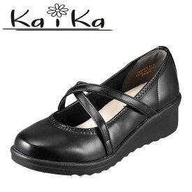 カイカ kaika パンプス KA94174 レディース靴 靴 シューズ 3E相当 コンフォートシューズ ウェッジソール パンプス 衝撃吸収 インソール 大きいサイズ 対応 24.5cm 25.0cm ブラック TSRC