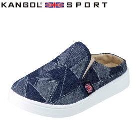 カンゴールスポーツ KANGOL SPORT KG9398A レディース靴 靴 シューズ 2E相当 カジュアルクロッグサンダル デニム柄 ふかふか インソール 大きいサイズ対応 ネイビー TSRC