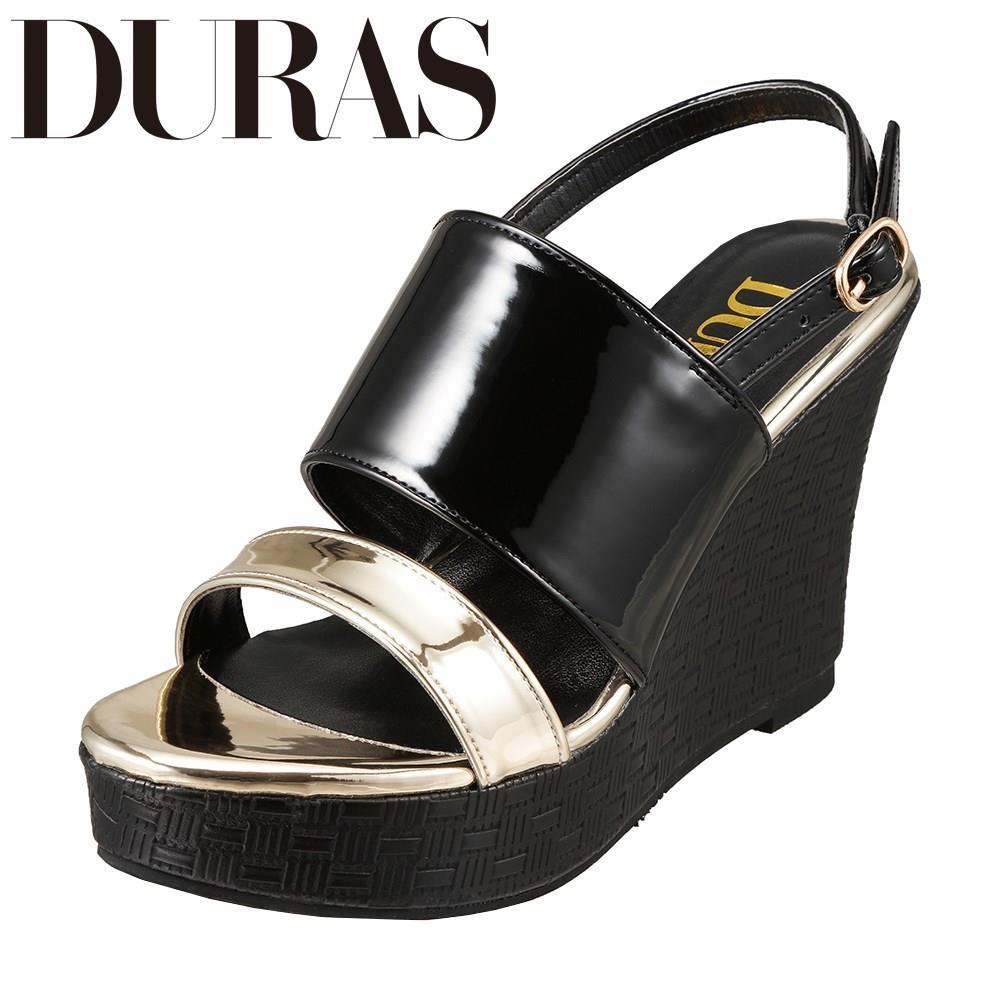 デュラス DURAS DR9760 レディース靴 2E相当 コンビネーション サンダル ウェッジソール バックストラップ 小さいサイズ対応 大きいサイズ対応 ブラック TSRC