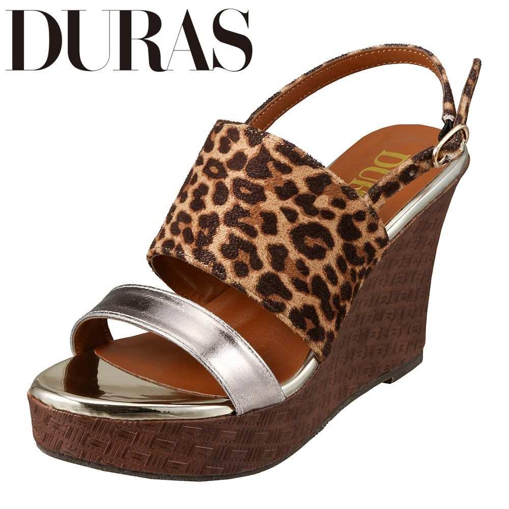 デュラス DURAS DR9760 レディース靴 2E相当 コンビネーション サンダル ウェッジソール バックストラップ 小さいサイズ対応 大きいサイズ対応 レオパード TSRC