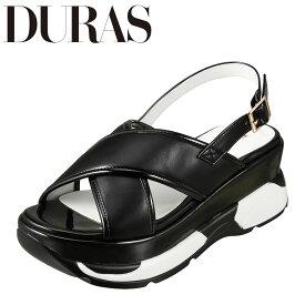 デュラス DURAS DR9810 レディース靴 2E相当 サンダル スニーカー底 スニーカーソール スポーツサンダル 個性的デザイン ブラック TSRC