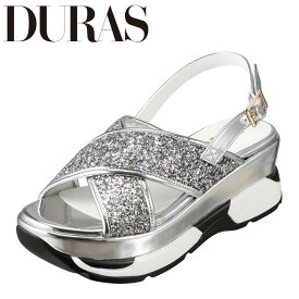 デュラス DURAS DR9810 レディース靴 2E相当 サンダル スニーカー底 スニーカーソール スポーツサンダル 個性的デザイン シルバー TSRC