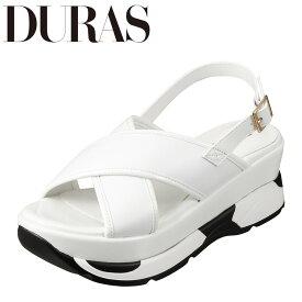 デュラス DURAS DR9810 レディース靴 2E相当 サンダル スニーカー底 スニーカーソール スポーツサンダル 個性的デザイン ホワイト TSRC