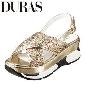 デュラス DURAS DR9810 レディース靴 2E相当 サンダル スニーカー底 スニーカーソール スポーツサンダル 個性的デザイン ゴールド TSRC