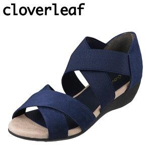 クローバーリーフ cloverleaf CL-1244 レディース靴 靴 シューズ 2E相当 サンダル ウェッジソール クロスベルト ふわふわ インソール ネイビー TSRC