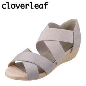 クローバーリーフ cloverleaf CL-1244 レディース靴 靴 シューズ 2E相当 サンダル ウェッジソール クロスベルト ふわふわ インソール グレー TSRC