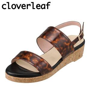 クローバーリーフ cloverleaf CL-1246 レディース靴 靴 シューズ 2E相当 サンダル ウェッジソール エナメル ふわふわ インソール ブラウン TSRC