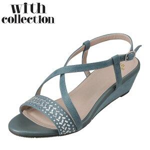 ウィズコレクション with collection WC-118 レディース靴 靴 シューズ 2E相当 サンダル ウェッジソール クロスベルト フォトフィックス ブルー TSRC